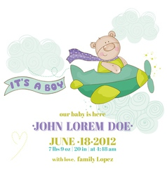 Baby bear on a plane - baby shower or arrival card vector