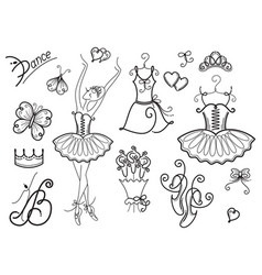 ballet design elements vector image vector image