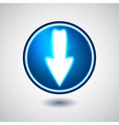 Blue illuminated download button vector