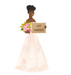 Bride holding a plate with text just married vector