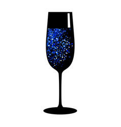 Champagne blue black glass vector
