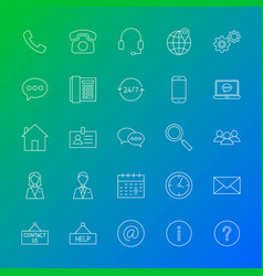Contact line icons vector
