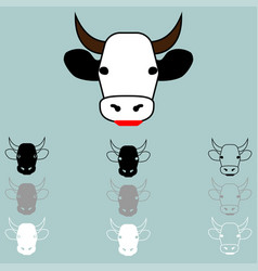 cow face different colour icon vector image
