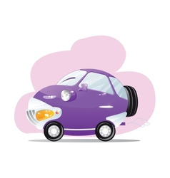 Cute car with the headlights in a cartoon style vector image