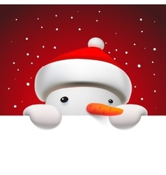 Cute snowman holding white page Christmas card vector image vector image