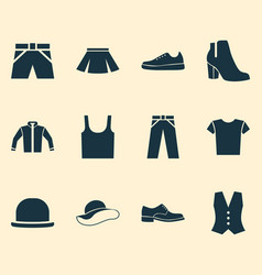dress icons set collection of female winter shoes vector image