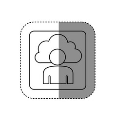 Figure cloud person technology icon vector