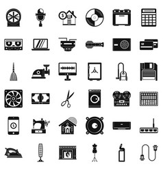 Homework appliance icons set simple style vector