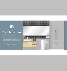 Interior design Modern bathroom background 1 vector image
