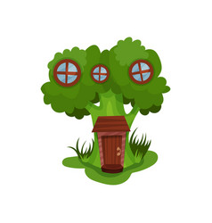 Little fantasy house in form of green broccoli vector