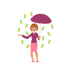 Office girl with umbrella under dollar rain vector