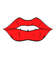 red lips icon cartoon vector image