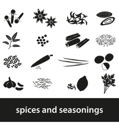 spices and seasonings black icons set eps10 vector image vector image