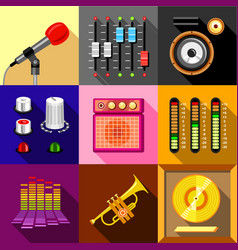 Studio equipment icons set flat style vector