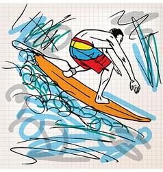 Surfing sketch vector