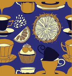 Tea time pattern design vector