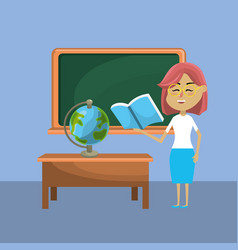 teacher woman and creative education to learn vector image