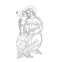 virgin mary with little jesus vector image