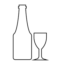 Wine and glass icon outline style vector image vector image