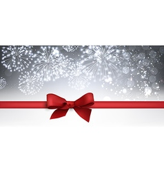 Winter banner with red bow vector image