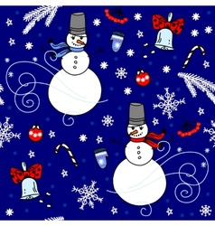 Winter seamless background with snowmen vector image