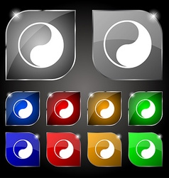 Yin Yang icon sign Set of ten colorful buttons vector image