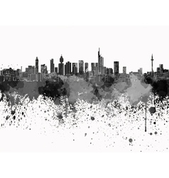 Frankfurt skyline in black watercolor on white vector