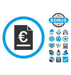 Euro invoice flat icon with bonus vector