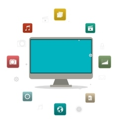 Computer and media app design vector image