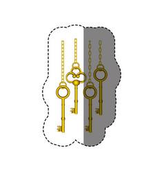 sticker pattern with vintage golden keys hanging vector image