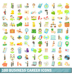100 business career icons set cartoon style vector