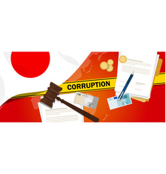Japan corruption money bribery financial law vector