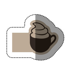 Sticker monochrome emblem with coffee cup with vector