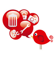 Red cute cartoon bird with dialog bubble with vector