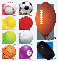 Colorful sport balls map pointer eps 8 vector