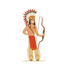 Native american indian in traditional indian vector