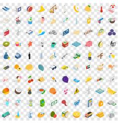 100 dubai icons set isometric 3d style vector