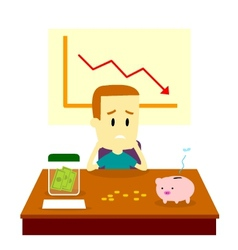 Man got financial problem vector