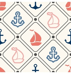 Seamless pattern of anchor sailboat shape in frame vector