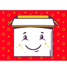 Open box with icon of smile on red patte vector