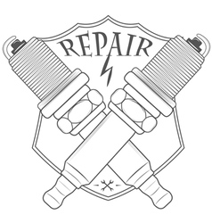 Car service repair quality logos and pictures vector