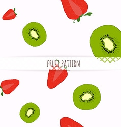 Hand drawn strawberries and kiwi seamless pattern vector