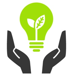 green ecology bulb in open hands vector image