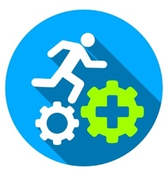 Treatment Process Flat Round Icon with Long Shadow vector image
