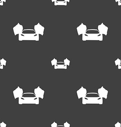 Sports car icon sign seamless pattern on a gray vector