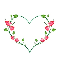 Red anthurium flowers in a heart shape vector