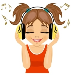 Little cute girl enjoys listening to music vector