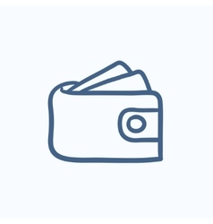 Wallet with money sketch icon vector
