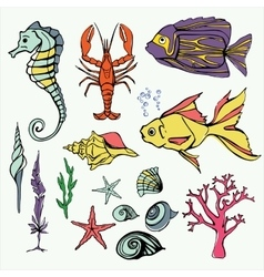 Underwater world big set hand drawn vector