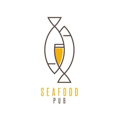 Seafood pub with beer and fish vector